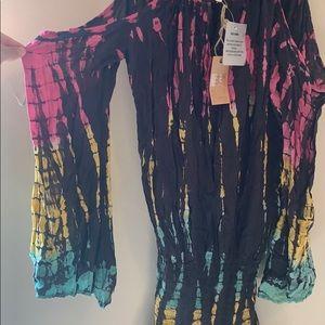 Surf Gypsy Dresses - Rainbow tie dye cold shoulder dress